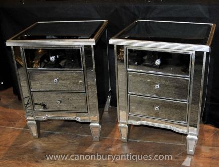 Art Deco Paar Mirrored Nacht Brust Schubladen Tabellen Nacht