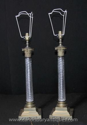 Pair Französisch Kristallglas dorischen Säule Tischleuchten Lichter