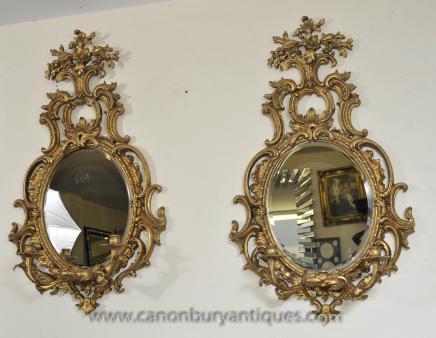 Pair Französisch Rokoko Girandole Spiegel Mirrored Candelabras Louis XVI