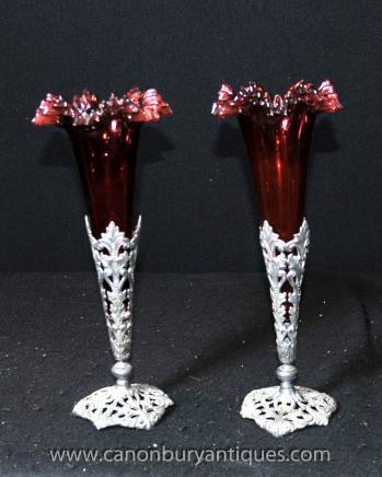 Pair Victorian Silver Plate Rose Vasen Cut Glasvase