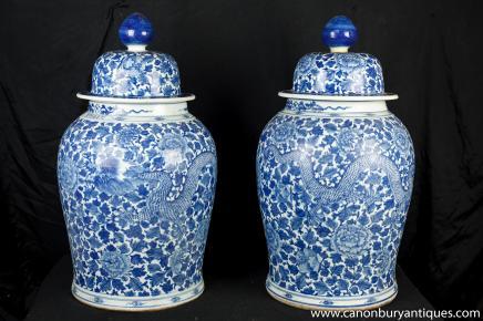 Pair Large Blau Weiß Porcleain Ingwer-Gläser Vasen Urnen Ming