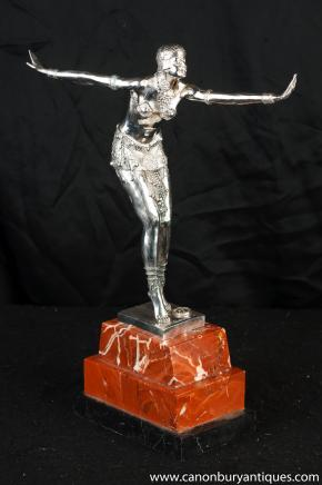 Art Deco Silber Bronze Charleston Dancer Figurine von Chiparus