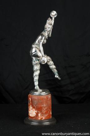 Bronze Art Deco Harlequin Dancer von Chiparus Figur Statue