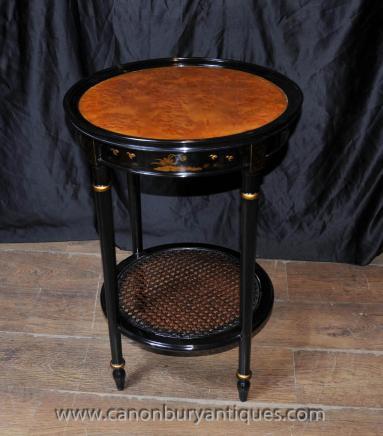 Französisch Black Lacquer Side Cocktail-Tisch Chinoiserie