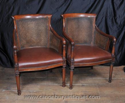 Pair Französisch Bergere Sessel Fauteils Mahagoni Rattan Chair