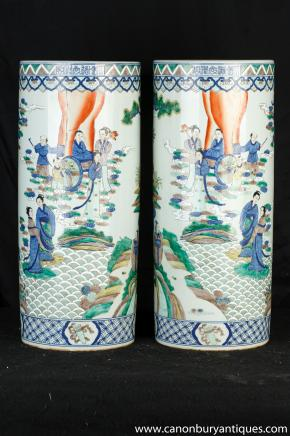 Pair japanischen Nabeshima Ware Porzellanschirmständer Urnen Vasen