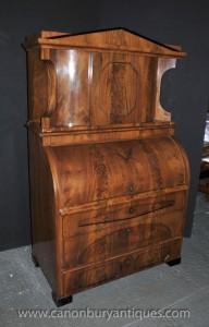 Antik Biedermeier Büro Bücher Walnuss Roll Top Schreibtisch 1840