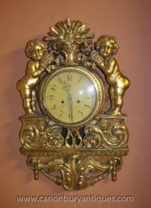 Antique Französisch vergoldeter Engel Wanduhr 1920