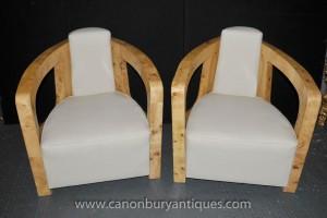 Art Deco Paar Clubsessel Sessel Jahrgang Blonde Walnuss