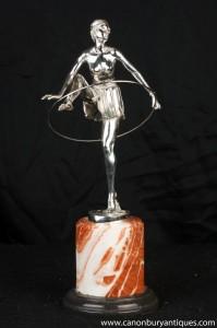 Art Deco Silber Bronze Band-Tänzer Statue Signiert Alonzo