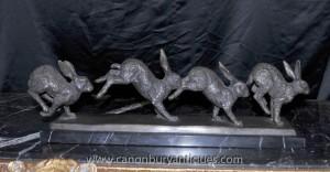 Englisch Bronze Lauf Kaninchen Statue Kaninchen Casting