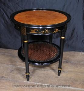Französisch Black Lacquer Low Beistelltisch Chinoiserie Tabellen
