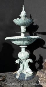 Französisch Bronze Schlange Dolphin Fountain Verdis Gris Wasserspiel