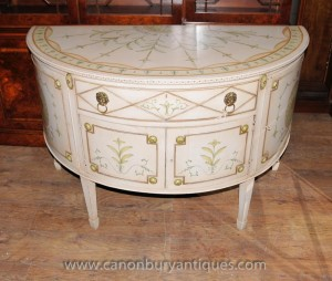 Französisch Louis XV Painted Demi Lune Cabinet Kommode Chest