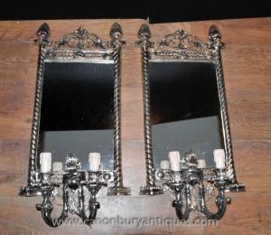 Französisch klassische silberne Platte Girandole Mirrored Sconce Applique Wandleuchte