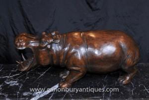 Hand geschnitzte afrikanische Statue Hippo Hippopotamus Stammeskunst