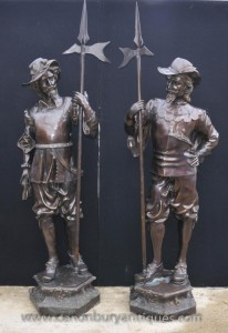 Paar Englisch Bronze Lifesize Cavaliers Prinz Charles I Soldiers