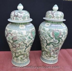 Pair Big chinesischen Qianlong Porzellan Drachen Urnen Vasen Ingwer-Gläser Töpfe