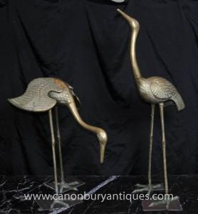 Pair Bronze Jugendstil-japanische Kräne Französisch Ormolu Vögel Stork