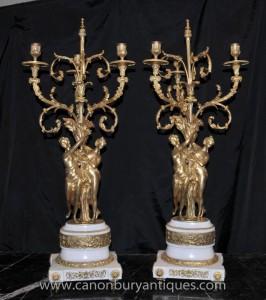 Pair Französisch Reich Ormolu Maiden Candelabras Marble Kerzen
