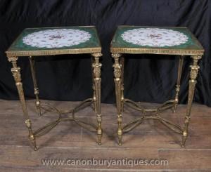 Pair Französisch Sevres Porcelain Beistelltische Ormolu Basis Cocktail-Tisch