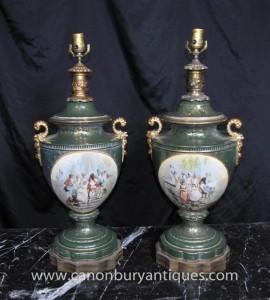 Pair Französisch Sevres Porcelain Lamp Bases Tischleuchten Licht