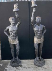 Pair XL Italia Bronze Mohr Statuen Torch Mauren Architektur