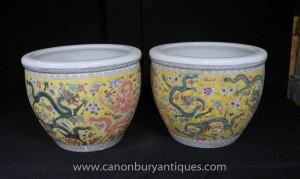 Pair chinesischen Ming-Drache Porcleain Ters Yellow Ceramic Töpfe Keramik