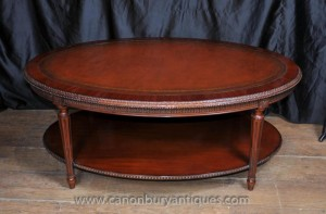 Regency Oval Couchtisch Mahagoni Leder Top Tables