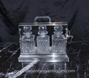 Victorian Silver Plate Tantalus Set Getränke Parfüm-Flasche 1920 Kristallglas