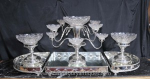 Victorian Silver Plate Tischdekoration Tafelaufsatz Glasteller Dinner Set