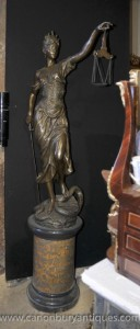 XL Lifesize Französisch Bronze Lady Justice Scales Statue Figurine