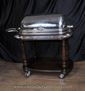 Antike viktorianische Holzsilver Beef Carving Trolley Hotels Carvery