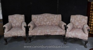 Antique Chippendale Sofa Set Sessel Couch Sitze Hand geschnitzte Sitzgruppe