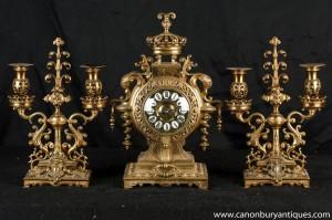 Antique Französisch Rokoko-Zeit einstellen Garniture Candelabras Reich
