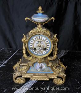 Antique Sevres und Ormolu Mantel Clock Uhren 1890
