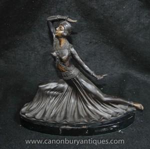 Art Deco Bronze Tänzerin Figurine Staat Preiss