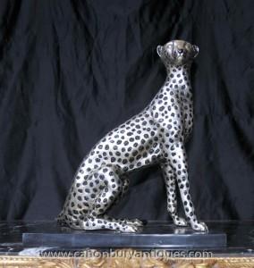 Art Deco Silber Bronze Cheetah Cat Statue Lions Feline Casting