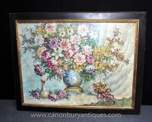Art Nouveau Floral Spray Stillleben Ölgemälde
