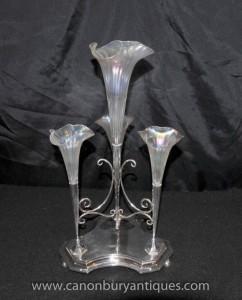Art Nouveau silberne Platten-Tafelaufsatz Tafelaufsatz Rose Vase