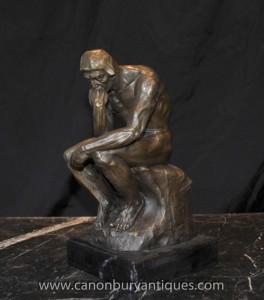 Bronze Statue Rodins Der Denker Auguste Rodin Skulptur Französisch Kunst