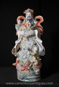Chinesisches Porzellan Wucai buddhistische Figur Männliche Statue Buddhismus Buddhist