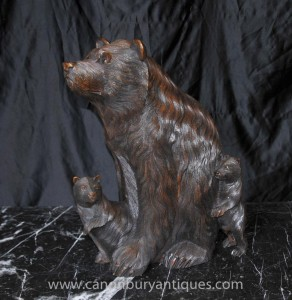 Deutsch Hand geschnitzt Black Forest Bear and Cub Statue Braunbären