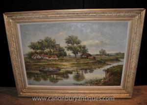 Englisch Impressionist Norfolk Broads-Landschaftsölgemälde Edwardian Art