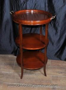Englisch Regency Beistelltisch Glas gekrönt Tray Tables Mahogany