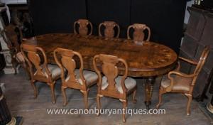 Englisch Walnut Dining Set Queen Anne und viktorianische Tabellen-