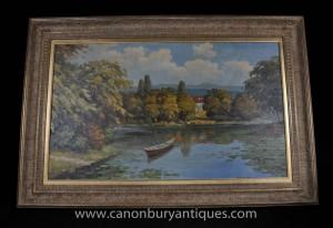 Englisch viktorianischen Fluss-Landschaftsölgemälde Staken