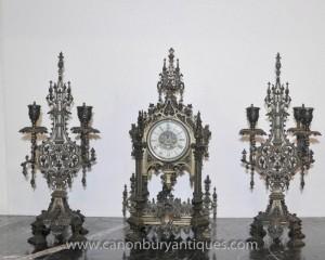 Englisch viktorianischen Gothic Clock Set Garniture Candelabras