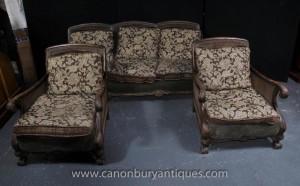 Französisch Antique Bergere Sofa Arm Chair Suite Couch Stühle Sitzgruppe
