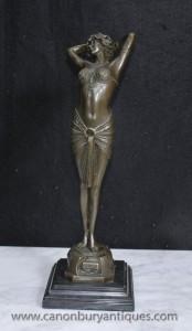 Französisch Art Deco Bronze Tänzerin Reveil Figurine Signiert Philips